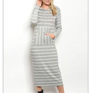 Gray + ivory striped hooded long tunic dress.